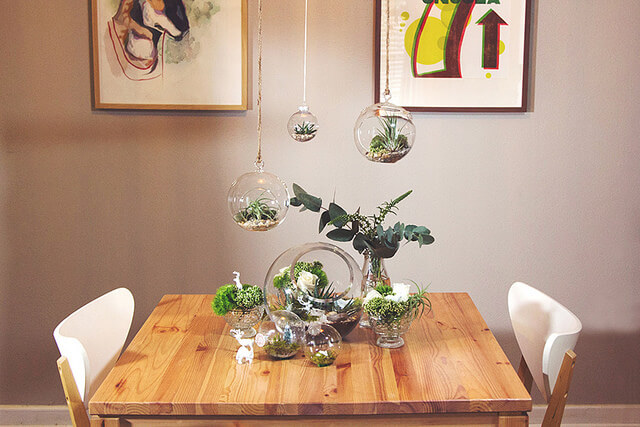 dining room table terrariums