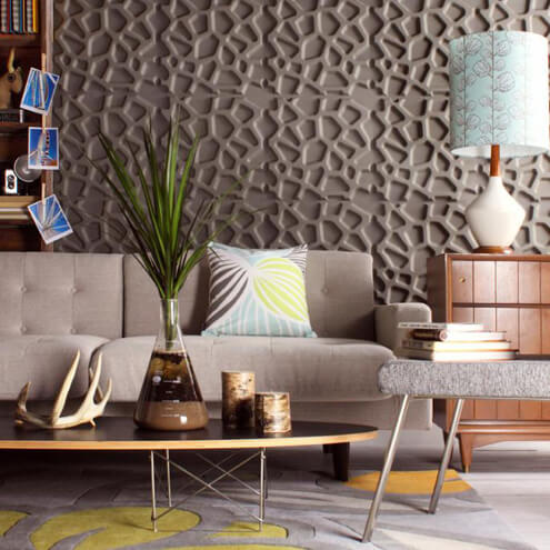 living room textural accent wall