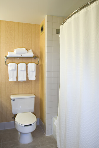 small bathroom toilet towel rack shower curtain