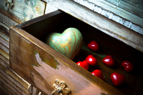 wooden drawer hearts love