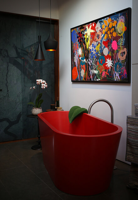 red artsy bathtub