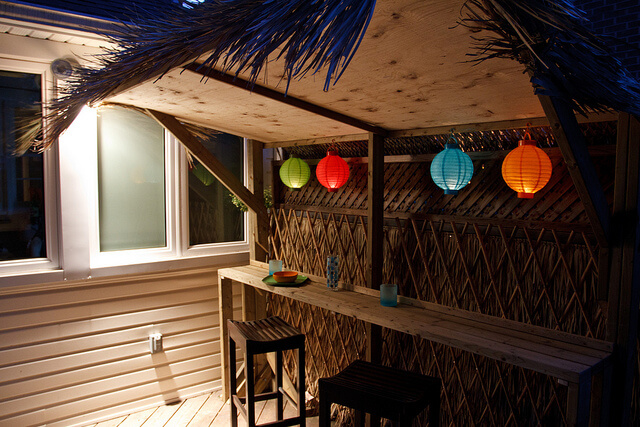Backyard Tiki Bar at Dusk, With Lanterns