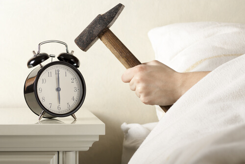 hammer and alarm clock