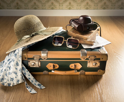 suitcase sunglasses vacation