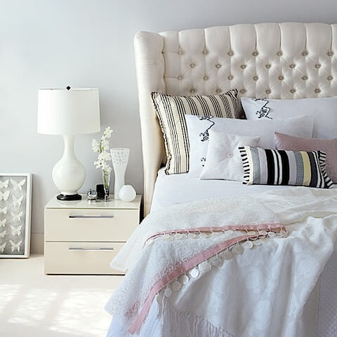 black and white bedroom mixed patterns
