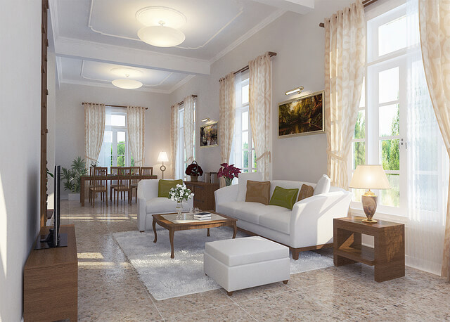 neutral mixed patterns living room