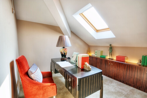 home office attic skylight