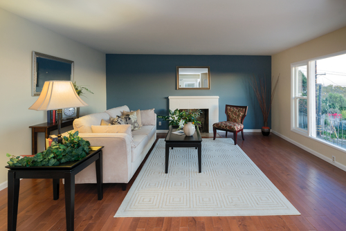 Refined Living Room Blue Accent