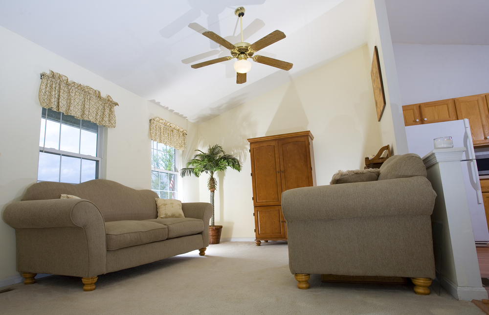 living room ceiling fan windows