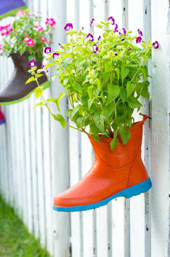 boot planters picket fence