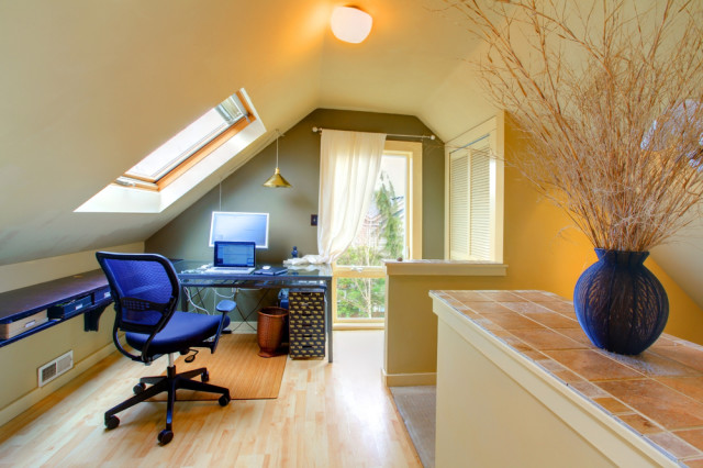 attic office with skylight