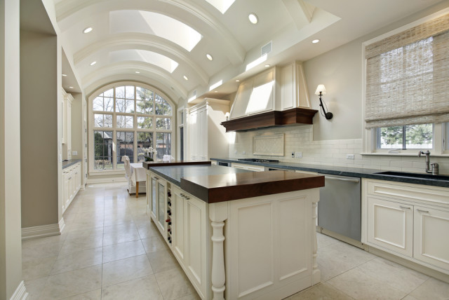 modern kitchen natural light marble floor