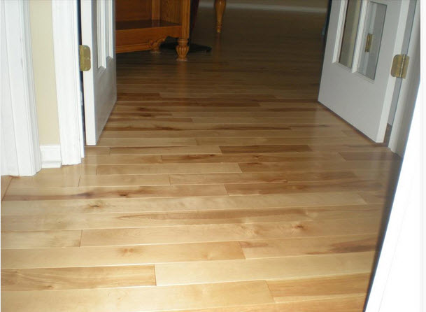 birch flooring in the hallway