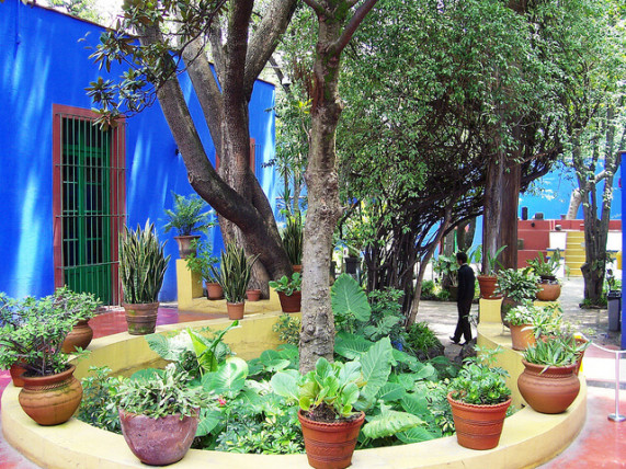 Frida Kahlo courtyard blue house