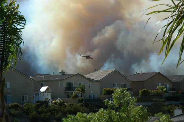 California wildfire in neighborhood