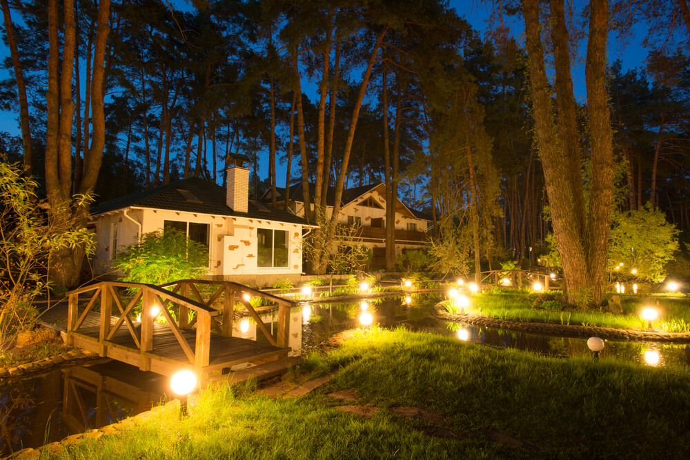 Exterior lighting lighting up the summer night for Outside home lighting