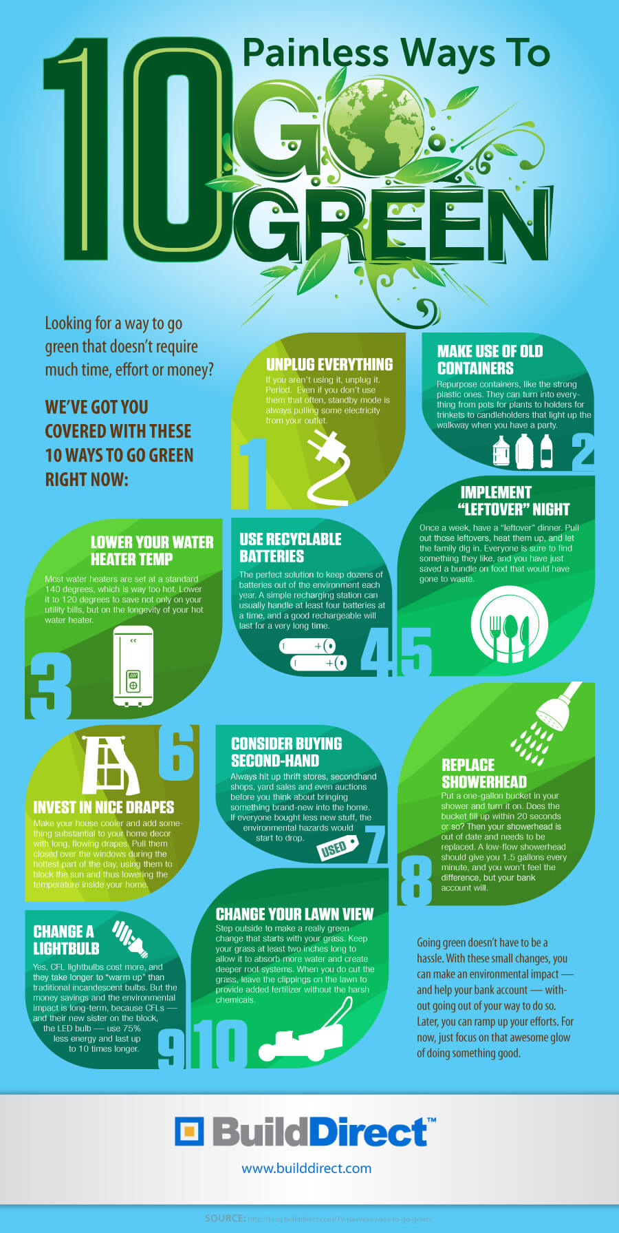 10 painless ways to go green an infographic for Ways to live green